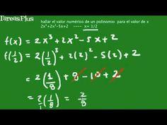 Evaluación de un polinomio de grado 3 en x igual a un medio