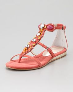 Bryce Jeweled T-Strap Sandal, Salmon by Donald J. Pliner at Neiman Marcus are absolutely adorable. Color is right on trend.