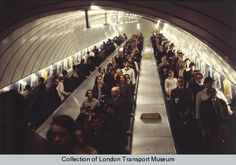 Escalators at Victoria Underground station. Photographed by Dr Heinz Zinram, 1970