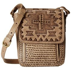 American West Apache Crossbody Flap Bag (Sand) Cross Body Handbags ($135) ❤ liked on Polyvore featuring bags, handbags, shoulder bags, brown leather pouch, brown crossbody purse, handbags shoulder bags, crossbody purse and leather pouch
