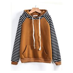 Contrast Raglan Sleeve Hooded Striped Sweatshirt ($23) ❤ liked on Polyvore featuring tops, hoodies, sweatshirts, raglan sweatshirt, striped hooded sweatshirt, striped sweatshirt, brown sweatshirt and stripe top
