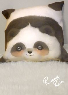 Have this chubby, cute little panda cushion up your back. Pillows are made of 100% spun polyester weather resistant fabric, made in USA
