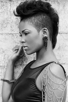 Natural Hair Styles For Black Women, Short Hair Styles Easy, Short Hair Cuts, Curly Hair Styles, Pixie Cuts, Mohawk Styles, Black Women Hairstyles, Cool Hairstyles, Natural Hairstyles