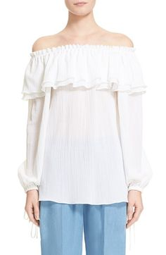 MICHAEL KORS Off Shoulder Peasant Blouse. #michaelkors #cloth #