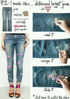 How to make rips in jeans | Clothing | Pinterest | How to make ...
