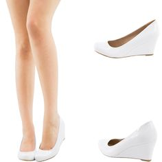 PURE WHITE PATENT LEATHER ROUND TOE MED LOW WEDGE HEEL WOMEN PUMP SANDAL  SHOE US   4ea5dc145b95