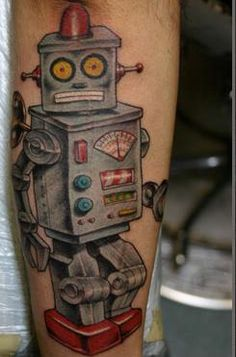 Robot tattoo by Corey Miller, Tattoos by Corey Miller Pin Up Tattoos, Time Tattoos, Great Tattoos, Tattoo You, Beautiful Tattoos, Awesome Tattoos, Color Tattoos, Corey Miller, Rocket Tattoo