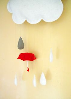 Happy Raincloud and Umbrella Felt Mobile   Sweet Tidings