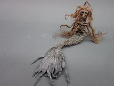 RESERVED FOR LEBAILLY ooak dead skeleton mermaid fantasy fairy miniature doll art goth dollhouse sideshow gaff Hoax joke. $49.00, via Etsy.