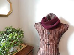 Cashmere Infinity Scarf BLACK CHERRY Burgundy Upcycled Felted Cashmere by WormeWoole
