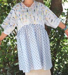 Repurposed Mens Shirt Cotton Tunic  -Hand Painted - Light Blue -  Indie Couture Dress By Resplendent Rags by resplendentrags on Etsy