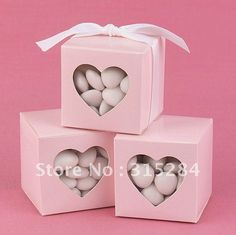 Envío gratis-- 10% fuera de color rosa a favor de la boda cajas/partido caja de dulces, chocolate caja con ventana de corazón( xy- 269)