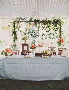 Whimsical + romantic wedding reception decor idea - dessert display backdrop idea - greenery arch with hanging greenery wreathes and flowers {Jackie Wonders Photography} Decoration Buffet, Decoration Photo, Table Decorations, Chic Wedding, Rustic Wedding, Our Wedding, Wedding Trends, Wedding Ideas, Wedding Props