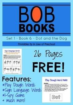 Free BOB Books Set 1, Book 6: Dot and the Dog printables from In Lieu of Preschool!