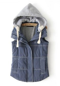 Blue Zipper Collar With Hat Thick Vest Coat