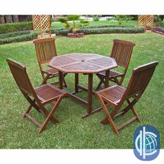 Enjoy outdoor dining with this folding patio furniture set. Great for an occasional barbecue or for coffee on the porch each morning, this five-piece seating arrangement features acacia hardwood construction for durability and beauty.