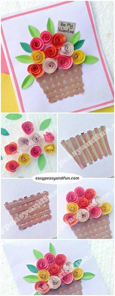 DIY Rolled Paper Roses Valentines Day or Mothers Day Card 2019 Flower Basket Paper Craft for Kids. Super simple Spring craft project for kids to make. The post DIY Rolled Paper Roses Valentines Day or Mothers Day Card 2019 appeared first on Paper ideas. Spring Crafts For Kids, Craft Projects For Kids, Paper Crafts For Kids, Preschool Crafts, Diy Paper, Paper Crafting, Diy For Kids, Diy And Crafts, Craft Ideas