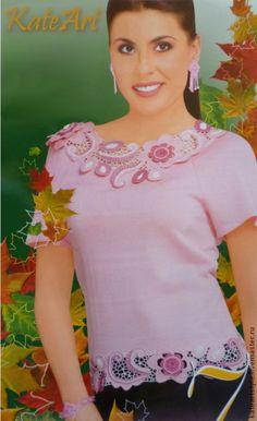 Купить Блуза из хлопка Розовые грезы - Вязание крючком, ирландское кружево, авторская ручная работа