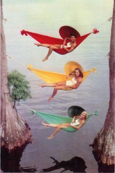1940s swimsuit girls in hammocks
