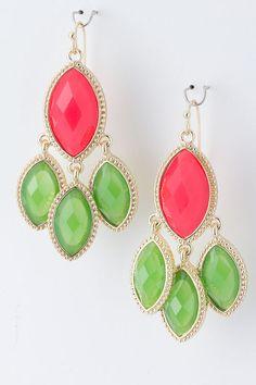 Coral/Green earrings   $10