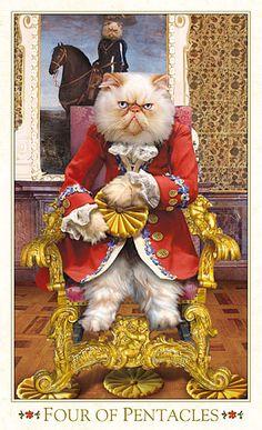 """4 d'écus - Tarot baroque """"les chats bohèmes"""" par Karen Mahony Alex Ukolov"""