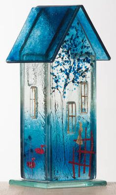 Møllehusets Glas: 48 - mørk turkis hus 18 cm fused glass house