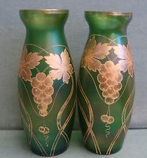 Antique Pair Green Glass Iridescent Lge Vases Hand Painted in Gold Exc Condition