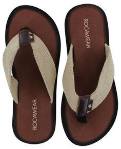 Rocawear Men's Cushioned EVA Flip Flops Sandals - Beige