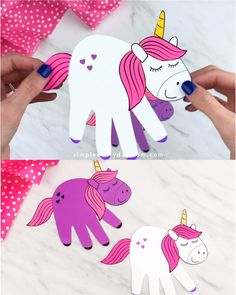 crafts for kids Make this cute handprint unicorn craft with the kids! Its a magical DIY children of all ages will want to make, plus it comes with a free template. Fun Crafts For Girls, Summer Crafts For Kids, Craft Projects For Kids, Paper Crafts For Kids, Craft Activities For Kids, Spring Crafts, Toddler Crafts, Crafts To Do, Preschool Crafts