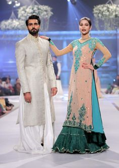Models walk for Mansoor Akram during the first day of the Pantene Bridal Couture Week (PBCW) .(Xinhua/Arshad) (liz) #southasian #southasianfashion #Akram #southasianmen #menswear