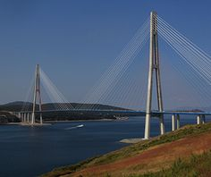 World's Longest Bridges: Longest Cable-Stayed bridge span : Russky Bridge : Vladivostok,Russia Pedestrian Bridge, Worlds Longest Bridge, Walkway Over The Hudson, Cantilever Bridge, Rickety Bridge, Cable Stayed Bridge, Lake Pontchartrain, Bridge Design, Russia