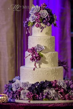 Q&A with Ana Parzych Custom Cakes Textured Wedding Cakes, Purple Wedding Cakes, Amazing Wedding Cakes, Wedding Cakes With Flowers, Flower Cakes, Mod Wedding, Dream Wedding, Floral Wedding, Wedding Gowns
