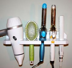 Blow dryer curling flat hair tool iron brush shelf holder bathroom organizer storage USA blow dryer curling flat hair iron brush shelf by northwoodscrafts Hair Appliance Storage, Hair Tool Storage, Hair Dryer Storage, Hair Tool Organizer, Diy Storage, Storage Ideas, Diy Hair Dryer Holder, Wall Storage, Closet Storage