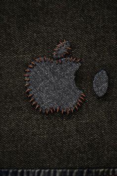 Apple Denim Stitched Logo iPhone 6 Wallpaper