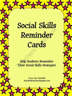 Social Skills Reminder Cards from The Lower Elementary Cottage on TeachersNotebook.com -  (6 pages)