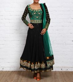 Black & Green Georgette Anarkali with Dabka