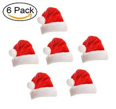 013c82076a51a 6pcs Unisex Adult Christmas Red Santa Hat Novelty Hat with White Faux Fur  for Party Gifts