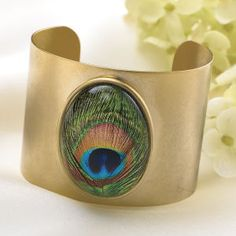 Regal Peacock Cuff Bracelet