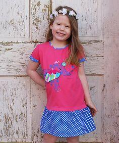 Look at this #zulilyfind! Heather Hill Pink & Blue Elephant Dot Drop-Waist Dress - Kids by Heather Hill #zulilyfinds