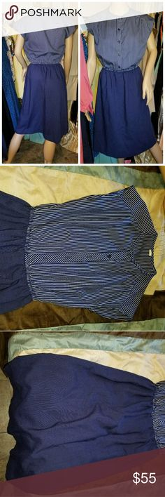 Authentic 1950s house dress Authentic vintage housewares pinstripe with buttons on top winches with elastic at waist Vintage Dresses Midi