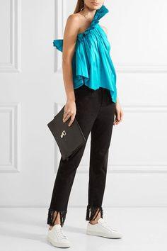Marques' Almeida - One-shoulder Ruffled Silk-taffeta Top - Turquoise -