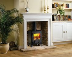Wood stove with mantle
