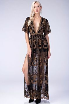 6d1a20c5979 Honey punch black multi embroidered lace maxi lining dress. style  id5009c-1