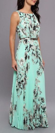 Green Floral Pleated Sleeveless Floor Length The Latest European And American fashion Casual Chiffon Maxi Dress on sale at low prices, buy cheap Green Floral Pleated Sleeveless Floor Length The Latest European And American fashion Casual Chiffon Maxi Dress at Cichic.com now!Free Shipping Worldwide!