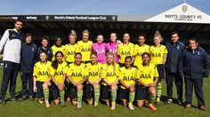 The ladies line-up at Notts County in the FA Cup in March