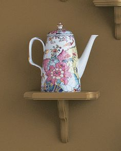 Playful Coffeepot: Mottahedeh's tobacco-leaf-patterned coffeepot.
