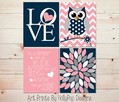 Navy Blue Pink Nursery Décor-You are Braver than You Believe-Floral Burst-Love Typography-Cute Whimsical Woodland Owl-Set of 4 Nursery Prints