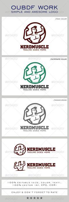 Nerd Muscle Mascot Logo Design Template Vector #logotype Download it here: http://graphicriver.net/item/nerd-muscle-logo-mascot/8274129?s_rank=1588?ref=nesto