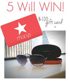 GIVEAWAY: 5 Will Win $100 Macy's Gift Card + Aviator Sunglasses