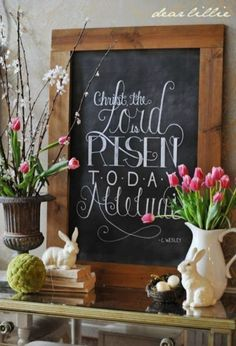 We are obsessed with chalk art and lettering. Create this beautiful Easter Vignette. More Spring & Easter Home Decor Ideas on Frugal Coupon Living.